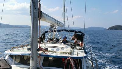 1ヨットでダイビング